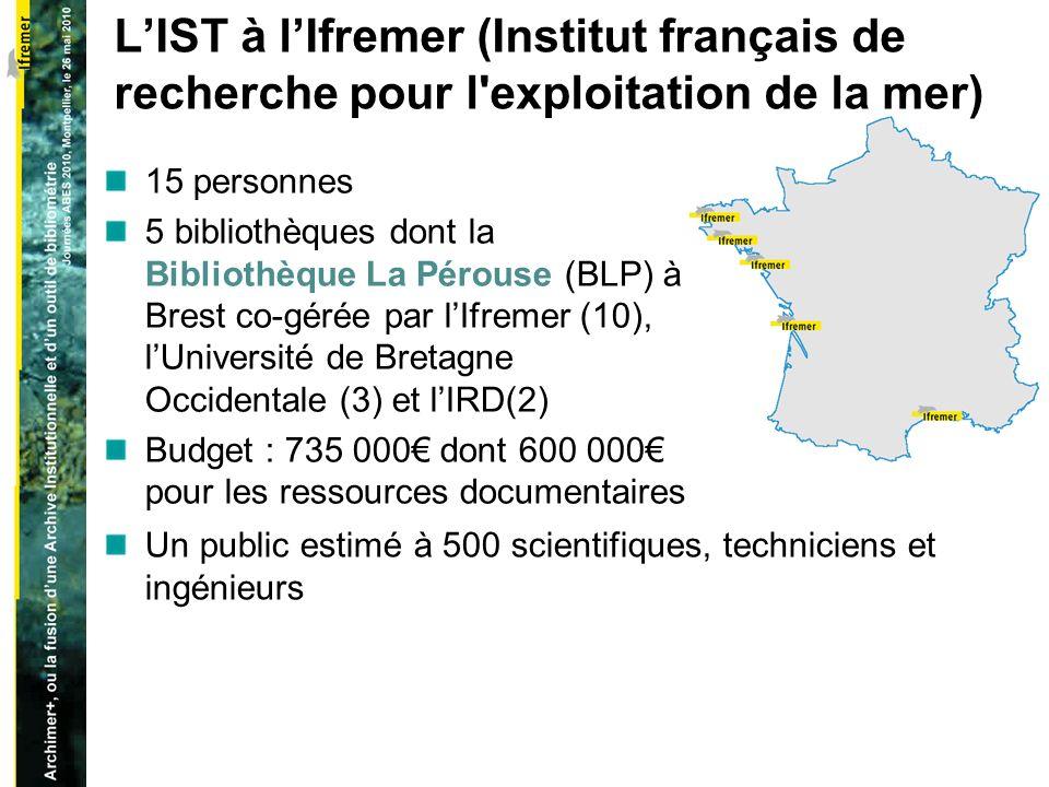 LIST à lIfremer (Institut français de recherche pour l exploitation de la mer) 15 personnes 5 bibliothèques dont la Bibliothèque La Pérouse (BLP) à Brest co-gérée par lIfremer (10), lUniversité de Bretagne Occidentale (3) et lIRD(2) Budget : 735 000 dont 600 000 pour les ressources documentaires Un public estimé à 500 scientifiques, techniciens et ingénieurs