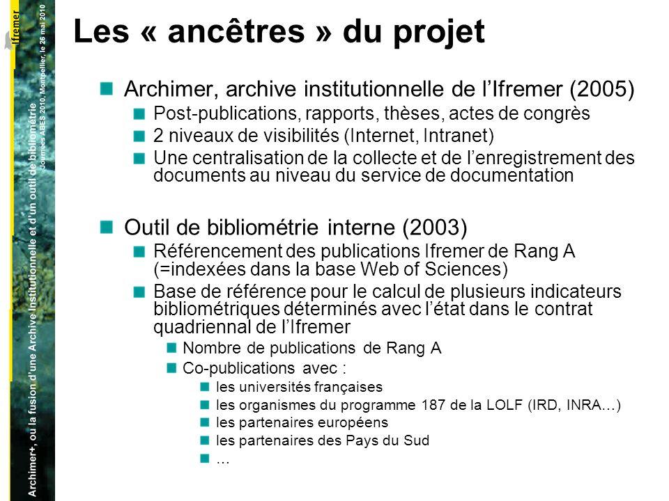 Un ensemble de besoins exprimés dans ces deux projets Base Bibliométrie Elargir la portée de cette base pour permettre le calcul de nouveaux indicateurs bibliométriques documentaires (nombre davis/expertises, nombre de rapports…)..