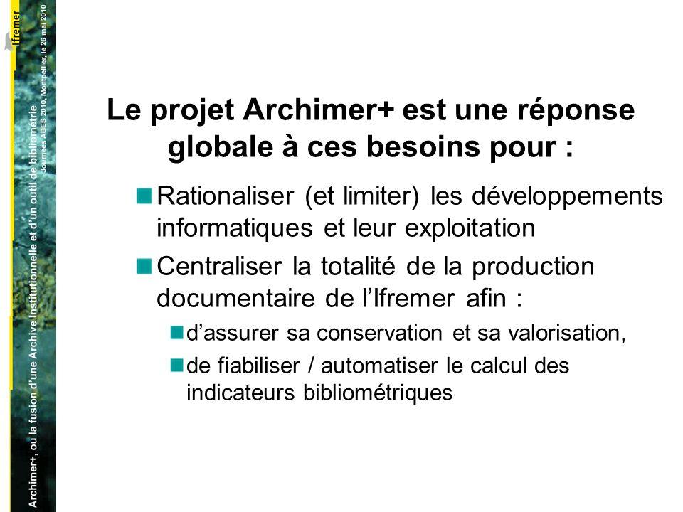 Le projet Archimer+ est une réponse globale à ces besoins pour : Rationaliser (et limiter) les développements informatiques et leur exploitation Centraliser la totalité de la production documentaire de lIfremer afin : dassurer sa conservation et sa valorisation, de fiabiliser / automatiser le calcul des indicateurs bibliométriques