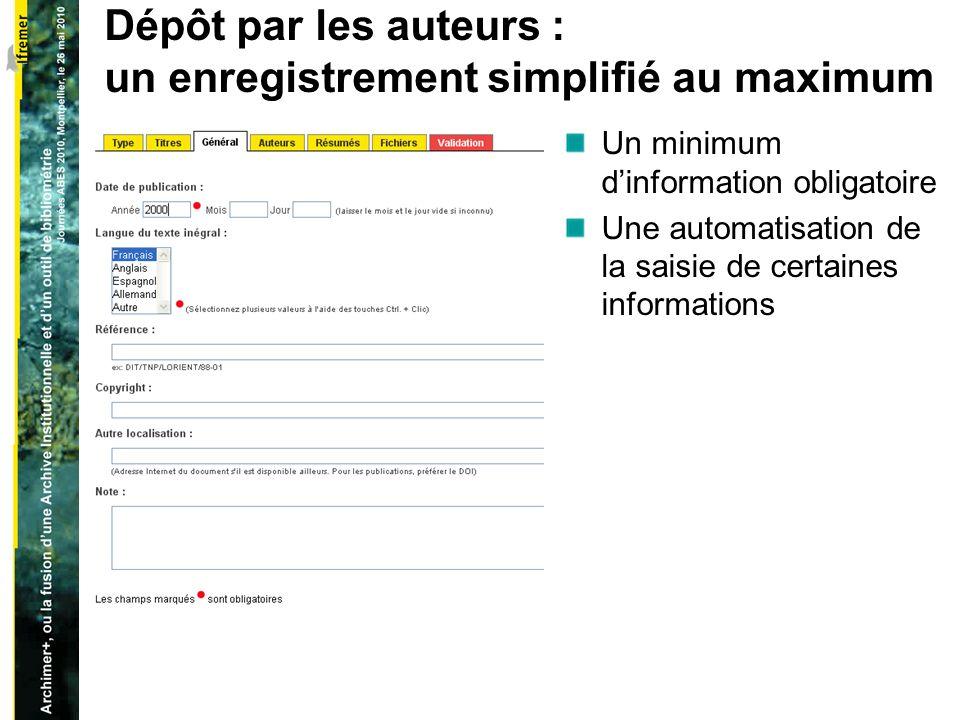 Dépôt par les auteurs : un enregistrement simplifié au maximum Un minimum dinformation obligatoire Une automatisation de la saisie de certaines informations