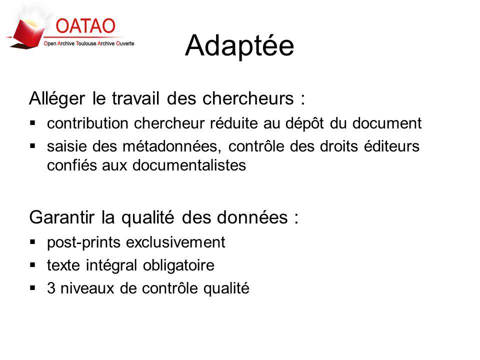 Adaptée Alléger le travail des chercheurs : contribution chercheur réduite au dépôt du document saisie des métadonnées, contrôle des droits éditeurs c
