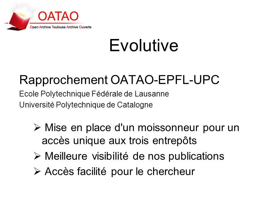 Evolutive Rapprochement OATAO-EPFL-UPC Ecole Polytechnique Fédérale de Lausanne Université Polytechnique de Catalogne Mise en place d'un moissonneur p