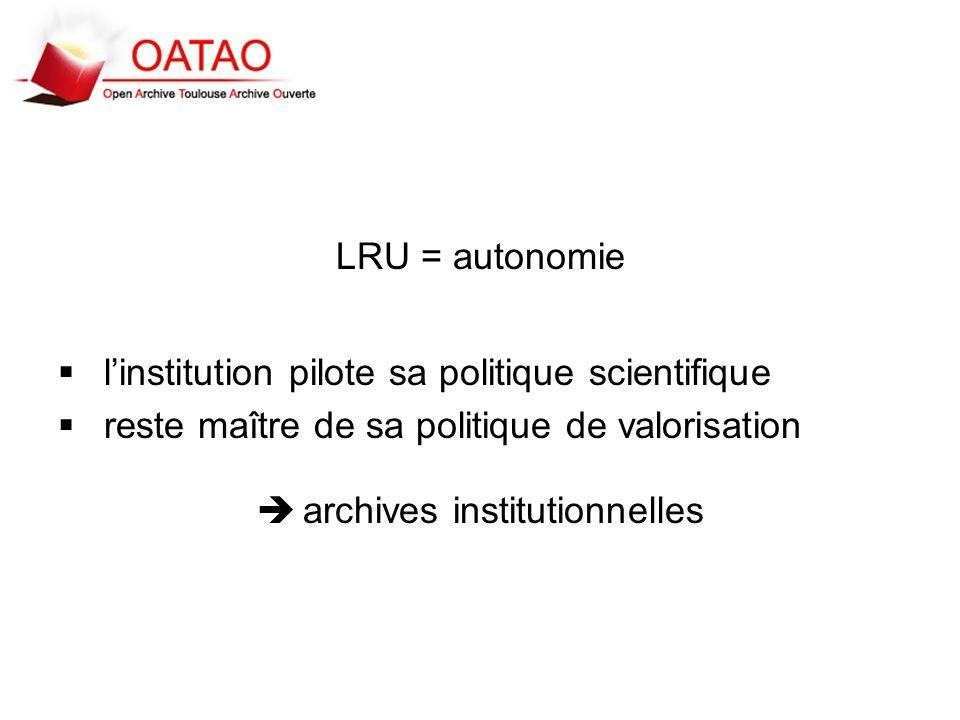 LRU = autonomie linstitution pilote sa politique scientifique reste maître de sa politique de valorisation archives institutionnelles