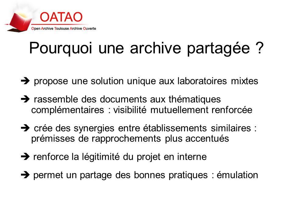 Pourquoi une archive partagée ? propose une solution unique aux laboratoires mixtes rassemble des documents aux thématiques complémentaires : visibili