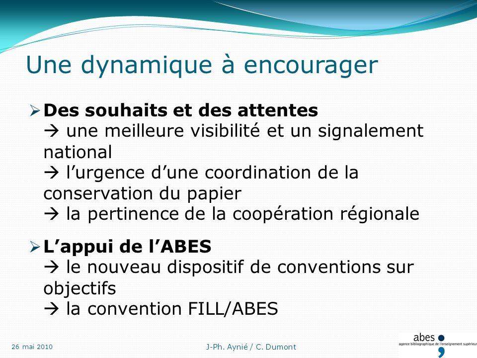 Une dynamique à encourager Des souhaits et des attentes une meilleure visibilité et un signalement national lurgence dune coordination de la conservation du papier la pertinence de la coopération régionale Lappui de lABES le nouveau dispositif de conventions sur objectifs la convention FILL/ABES 26 mai 2010 J-Ph.