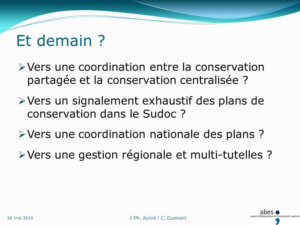 Vers une coordination entre la conservation partagée et la conservation centralisée .