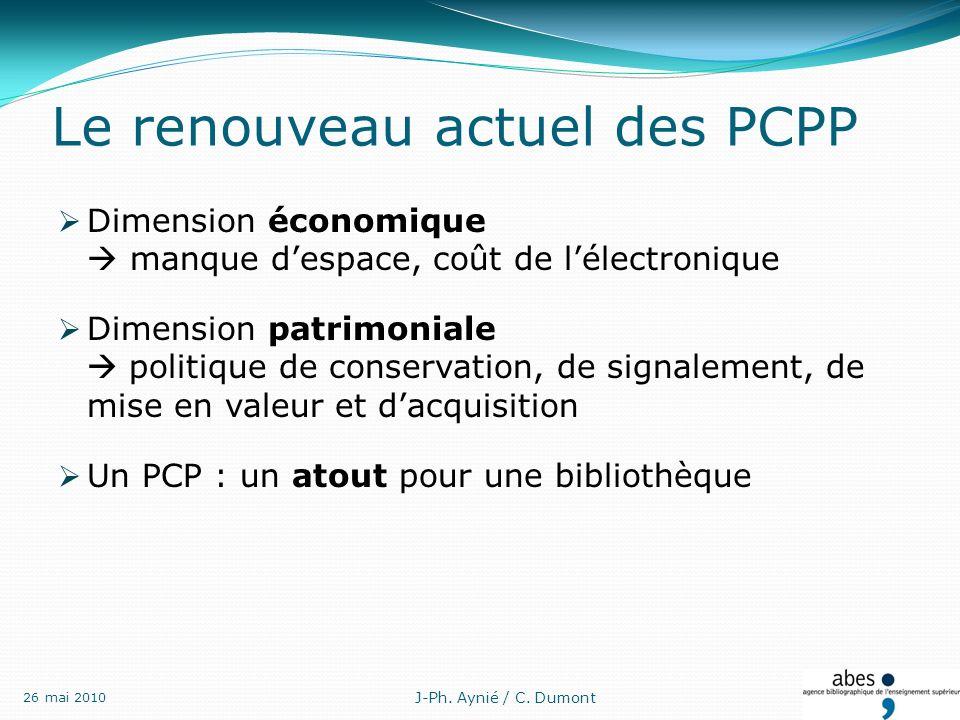 Le renouveau actuel des PCPP Dimension économique manque despace, coût de lélectronique Dimension patrimoniale politique de conservation, de signalement, de mise en valeur et dacquisition Un PCP : un atout pour une bibliothèque J-Ph.