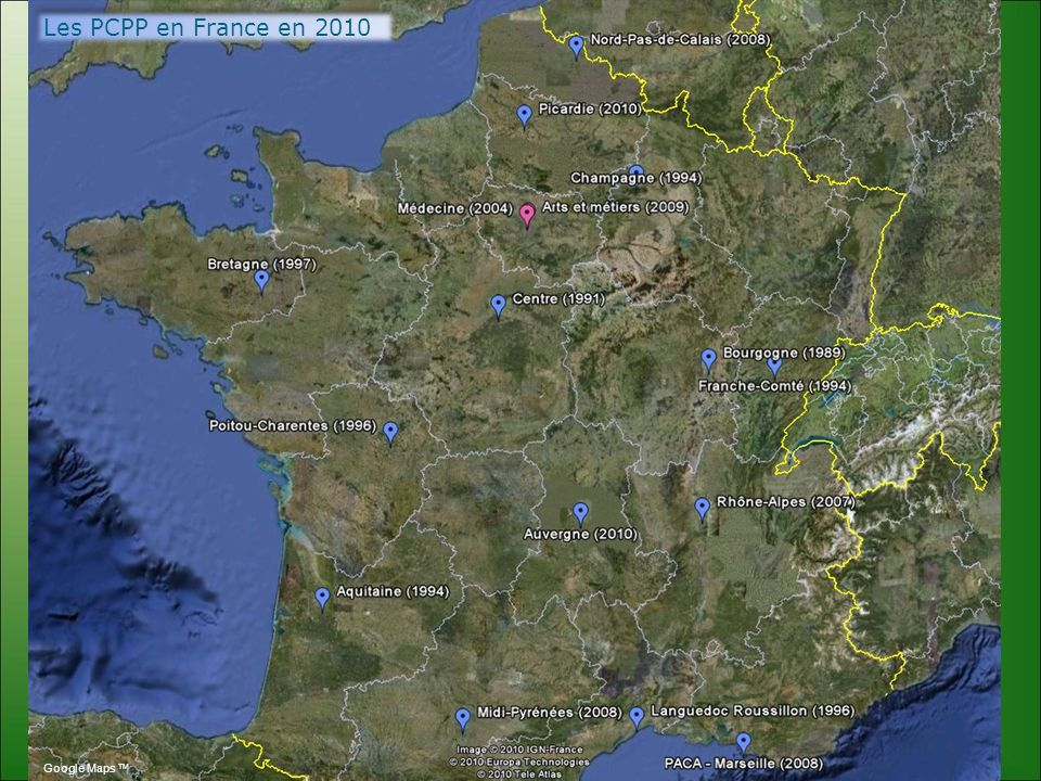 Les PCPP en France en 2010 Google Maps TM