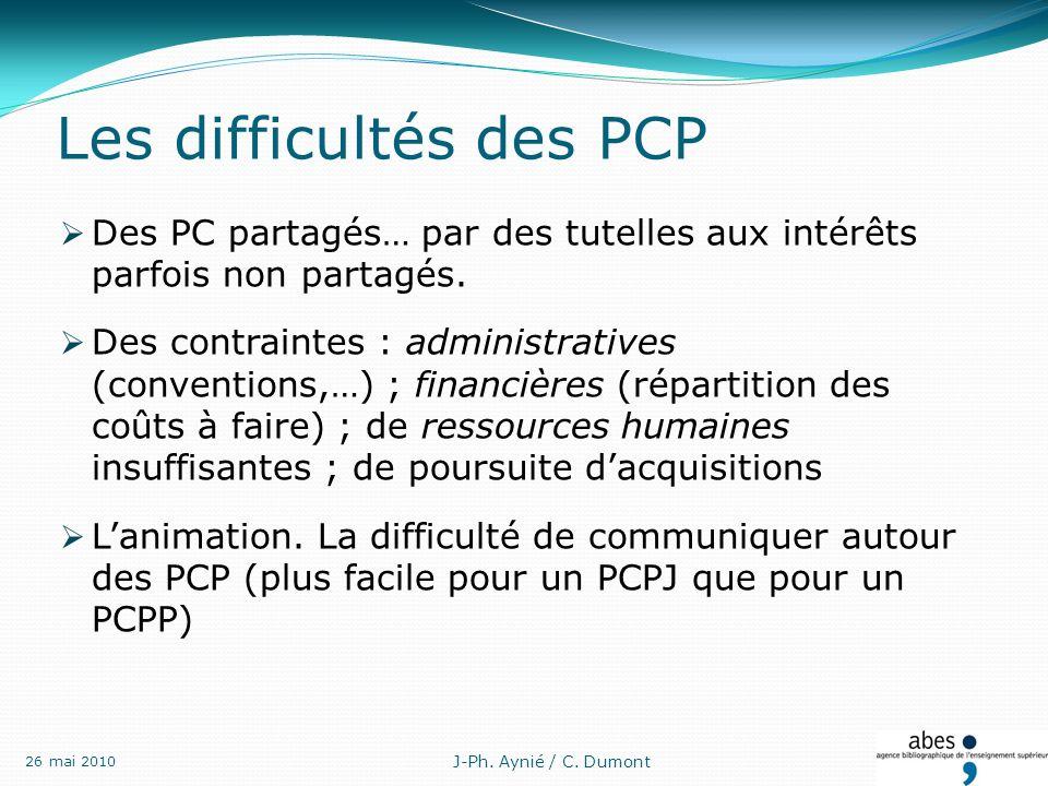 Les difficultés des PCP Des PC partagés… par des tutelles aux intérêts parfois non partagés.