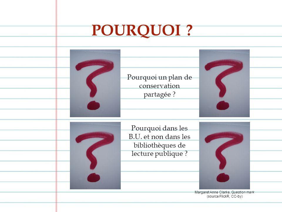 POURQUOI ? Margaret Anne Clarke, Question mark (source FlickR, CC-by) Pourquoi un plan de conservation partagée ? Pourquoi dans les B.U. et non dans l