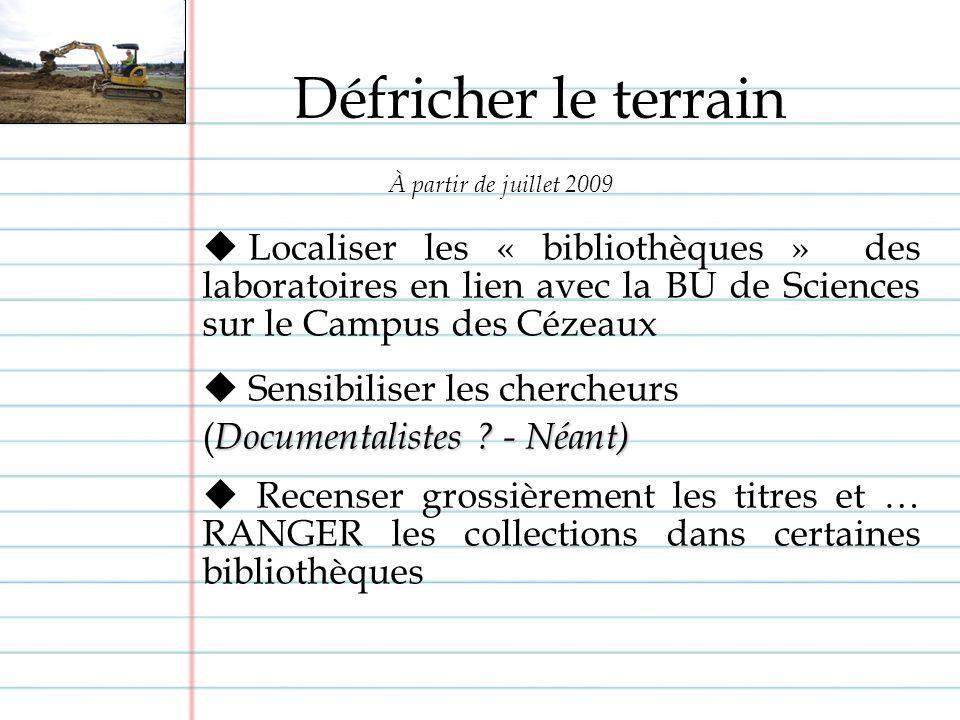 Localiser les « bibliothèques » des laboratoires en lien avec la BU de Sciences sur le Campus des Cézeaux Sensibiliser les chercheurs Documentalistes .