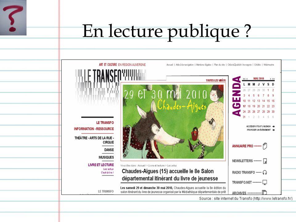 En lecture publique ? Source : site internet du Transfo (http://www.letransfo.fr/)