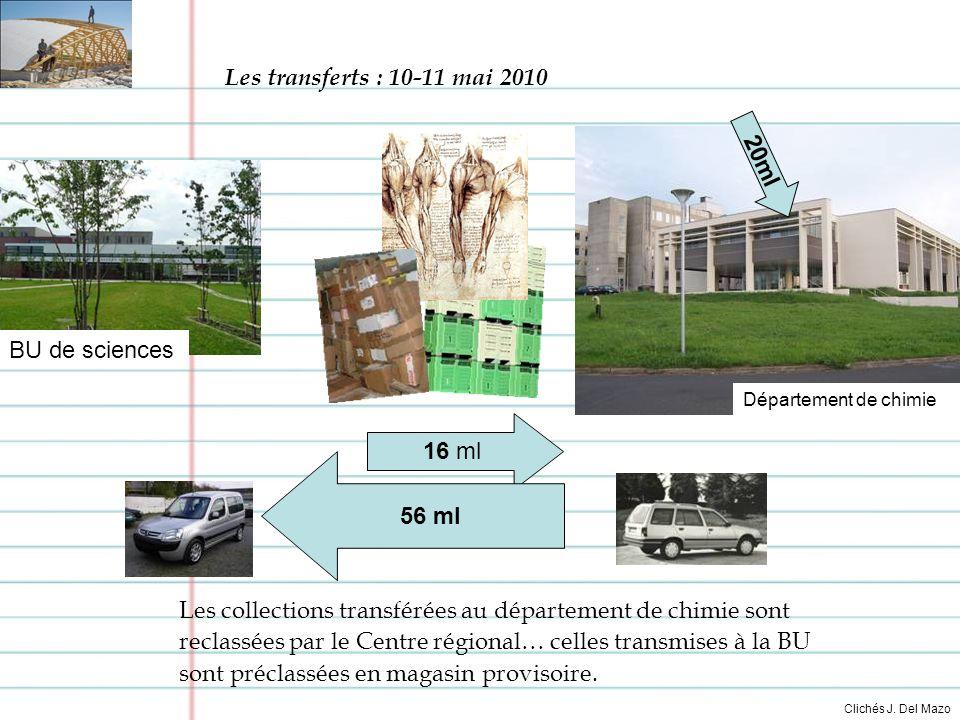 16 ml 56 ml BU de sciences Les collections transférées au département de chimie sont reclassées par le Centre régional… celles transmises à la BU sont préclassées en magasin provisoire.