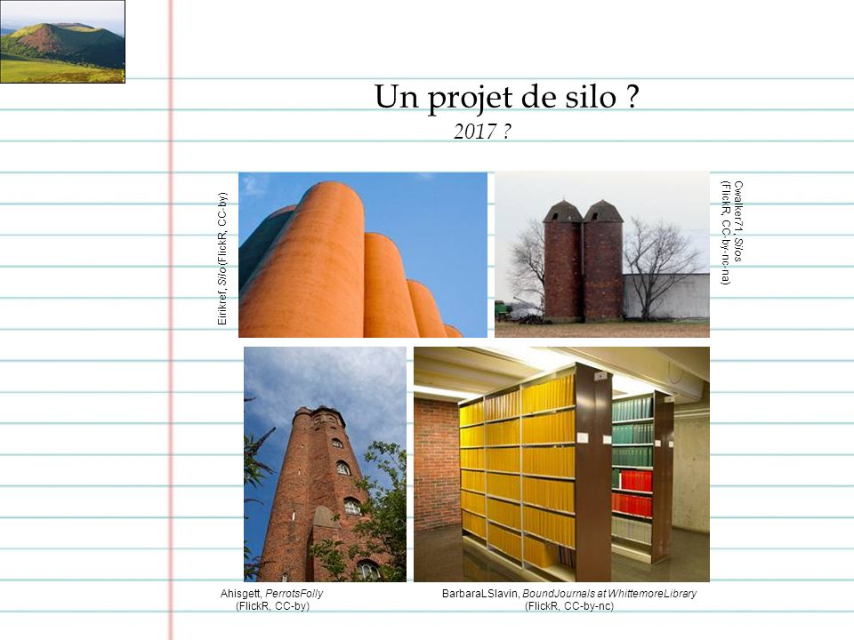 Un projet de silo ? 2017 ? BarbaraLSlavin, BoundJournals at WhittemoreLibrary (FlickR, CC-by-nc) Ahisgett, PerrotsFolly (FlickR, CC-by) Eirikref, Silo