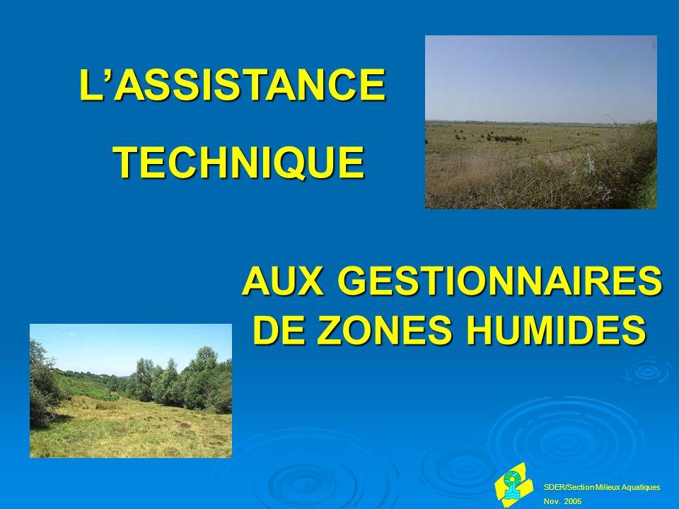 AUX GESTIONNAIRES DE ZONES HUMIDES AUX GESTIONNAIRES DE ZONES HUMIDES SDER/Section Milieux Aquatiques Nov.