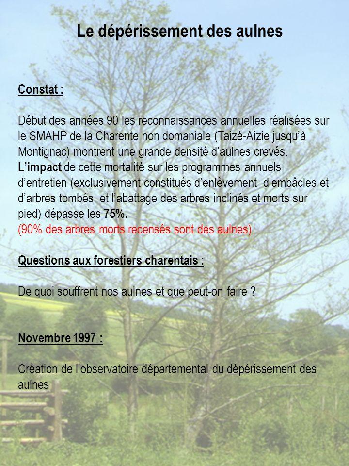 Constat : Début des années 90 les reconnaissances annuelles réalisées sur le SMAHP de la Charente non domaniale (Taizé-Aizie jusquà Montignac) montrent une grande densité daulnes crevés.