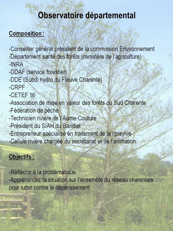 Composition : -Conseiller général président de la commission Environnement -Département santé des forêts (ministère de lagriculture) -INRA -DDAF (service forestier) -DDE (Subdi hydro du Fleuve Charente) -CRPF -CETEF 16 -Association de mise en valeur des forêts du Sud Charente -Fédération de pêche -Technicien rivière de lAume-Couture -Président du SIAH du Bandiat -Entrepreneur spécialisé en traitement de la ripisylve -Cellule rivière chargée du secrétariat et de lanimation Objectifs : -Réfléchir à la problématique -Appréhender la situation sur lensemble du réseau charentais pour lutter contre le dépérissement Observatoire départemental