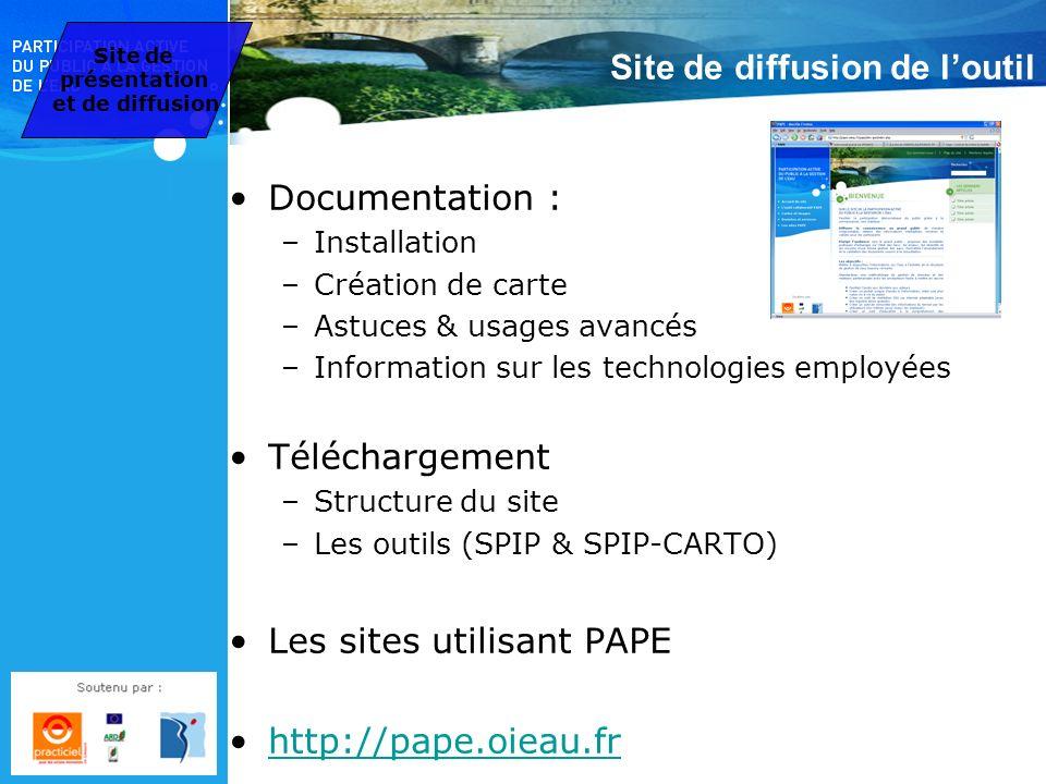 Site de diffusion de loutil Documentation : –Installation –Création de carte –Astuces & usages avancés –Information sur les technologies employées Tél