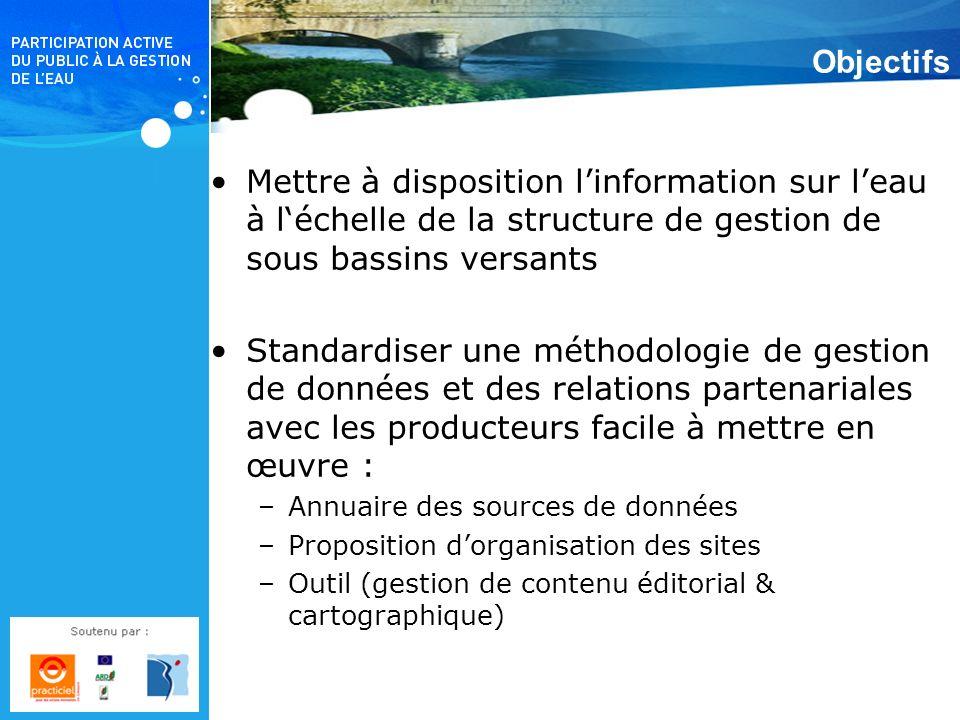 Objectifs Mettre à disposition linformation sur leau à léchelle de la structure de gestion de sous bassins versants Standardiser une méthodologie de g