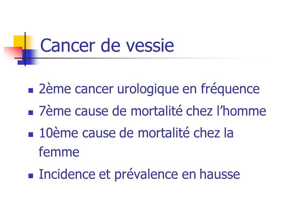 Cancer de vessie 2ème cancer urologique en fréquence 7ème cause de mortalité chez lhomme 10ème cause de mortalité chez la femme Incidence et prévalenc