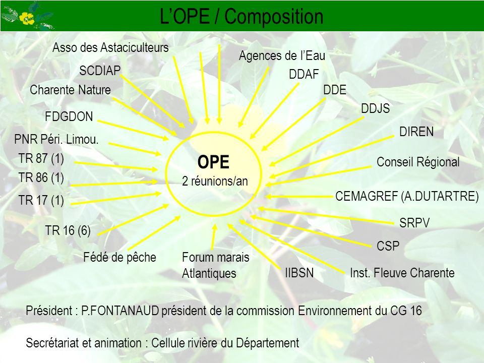 LOPE / Composition OPE 2 réunions/an Président : P.FONTANAUD président de la commission Environnement du CG 16 Secrétariat et animation : Cellule rivi