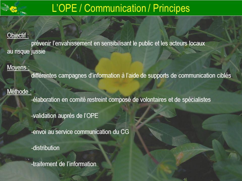 LOPE / Communication / Principes Objectif : prévenir lenvahissement en sensibilisant le public et les acteurs locaux au risque jussie Moyens : différe