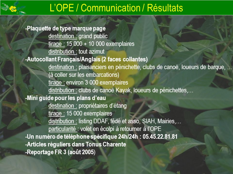 LOPE / Communication / Résultats -Plaquette de type marque page destination : grand public tirage : 15 000 + 10 000 exemplaires distribution : tout az