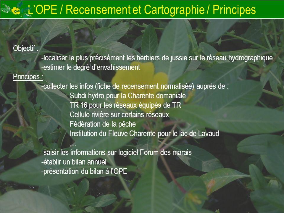 LOPE / Recensement et Cartographie / Principes Objectif : -localiser le plus précisément les herbiers de jussie sur le réseau hydrographique -estimer