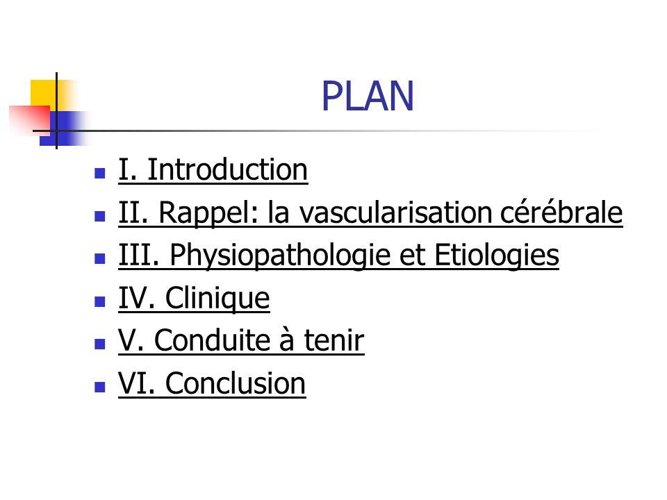 PLAN I. Introduction II. Rappel: la vascularisation cérébrale III. Physiopathologie et Etiologies IV. Clinique V. Conduite à tenir VI. Conclusion