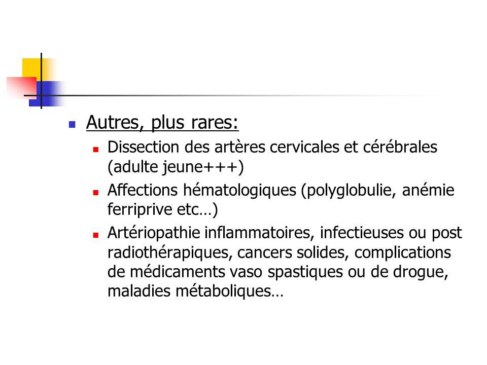 Autres, plus rares: Dissection des artères cervicales et cérébrales (adulte jeune+++) Affections hématologiques (polyglobulie, anémie ferriprive etc…)