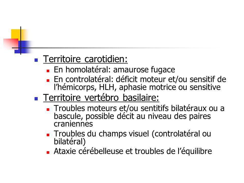 Territoire carotidien: En homolatéral: amaurose fugace En controlatéral: déficit moteur et/ou sensitif de lhémicorps, HLH, aphasie motrice ou sensitive Territoire vertébro basilaire: Troubles moteurs et/ou sentitifs bilatéraux ou a bascule, possible décit au niveau des paires craniennes Troubles du champs visuel (controlatéral ou bilatéral) Ataxie cérébelleuse et troubles de léquilibre