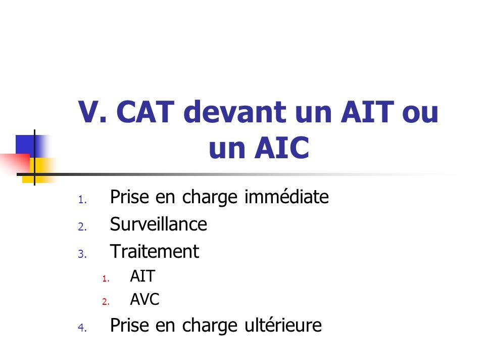 V. CAT devant un AIT ou un AIC 1. Prise en charge immédiate 2. Surveillance 3. Traitement 1. AIT 2. AVC 4. Prise en charge ultérieure