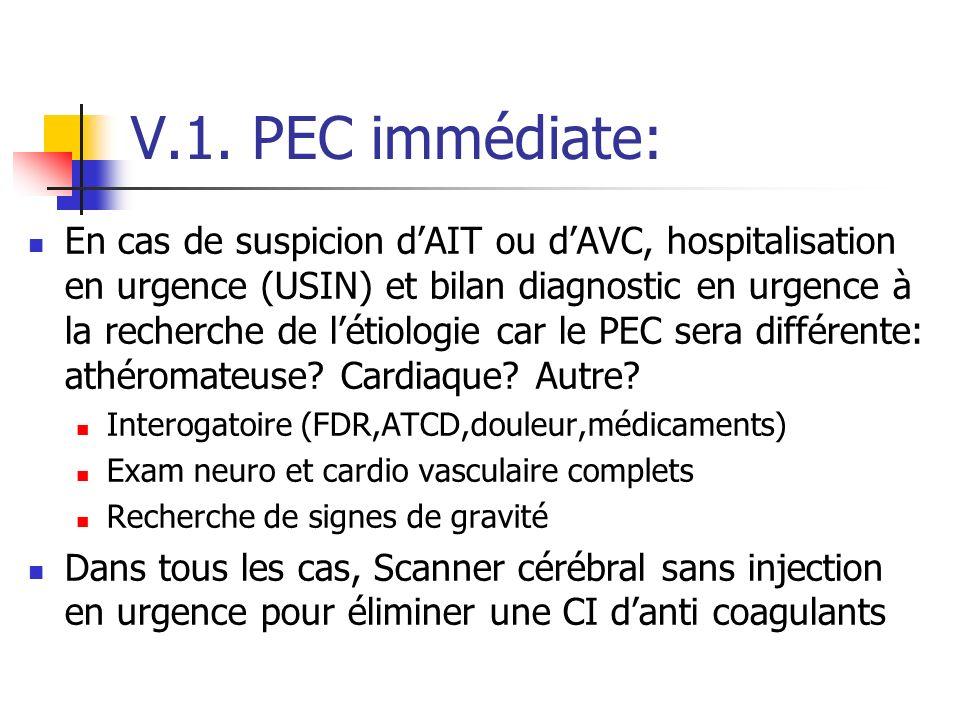 V.1. PEC immédiate: En cas de suspicion dAIT ou dAVC, hospitalisation en urgence (USIN) et bilan diagnostic en urgence à la recherche de létiologie ca