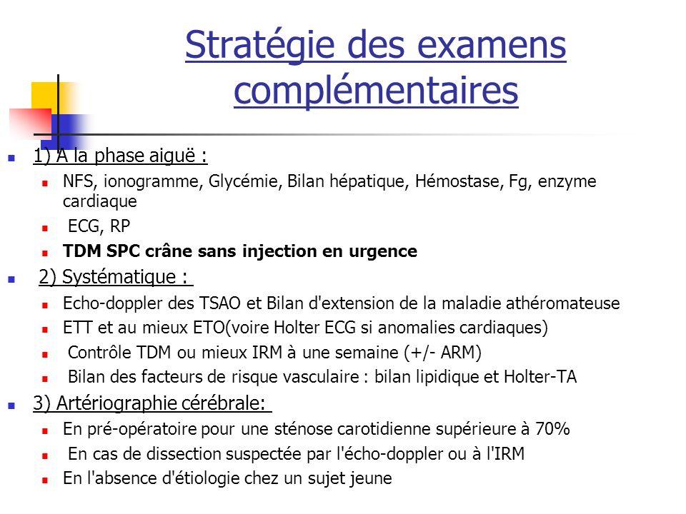 Stratégie des examens complémentaires 1) A la phase aiguë : NFS, ionogramme, Glycémie, Bilan hépatique, Hémostase, Fg, enzyme cardiaque ECG, RP TDM SPC crâne sans injection en urgence 2) Systématique : Echo-doppler des TSAO et Bilan d extension de la maladie athéromateuse ETT et au mieux ETO(voire Holter ECG si anomalies cardiaques) Contrôle TDM ou mieux IRM à une semaine (+/- ARM) Bilan des facteurs de risque vasculaire : bilan lipidique et Holter-TA 3) Artériographie cérébrale: En pré-opératoire pour une sténose carotidienne supérieure à 70% En cas de dissection suspectée par l écho-doppler ou à l IRM En l absence d étiologie chez un sujet jeune