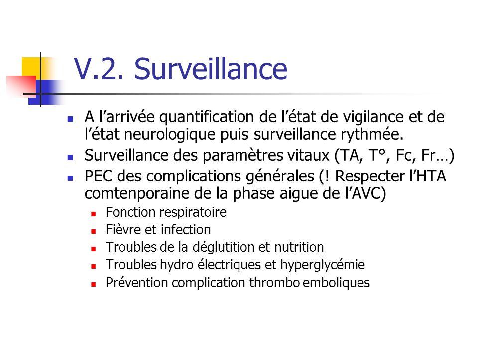 V.2. Surveillance A larrivée quantification de létat de vigilance et de létat neurologique puis surveillance rythmée. Surveillance des paramètres vita