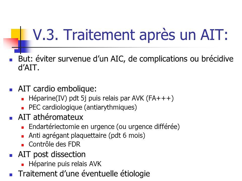 V.3. Traitement après un AIT: But: éviter survenue dun AIC, de complications ou brécidive dAIT. AIT cardio embolique: Héparine(IV) pdt 5j puis relais