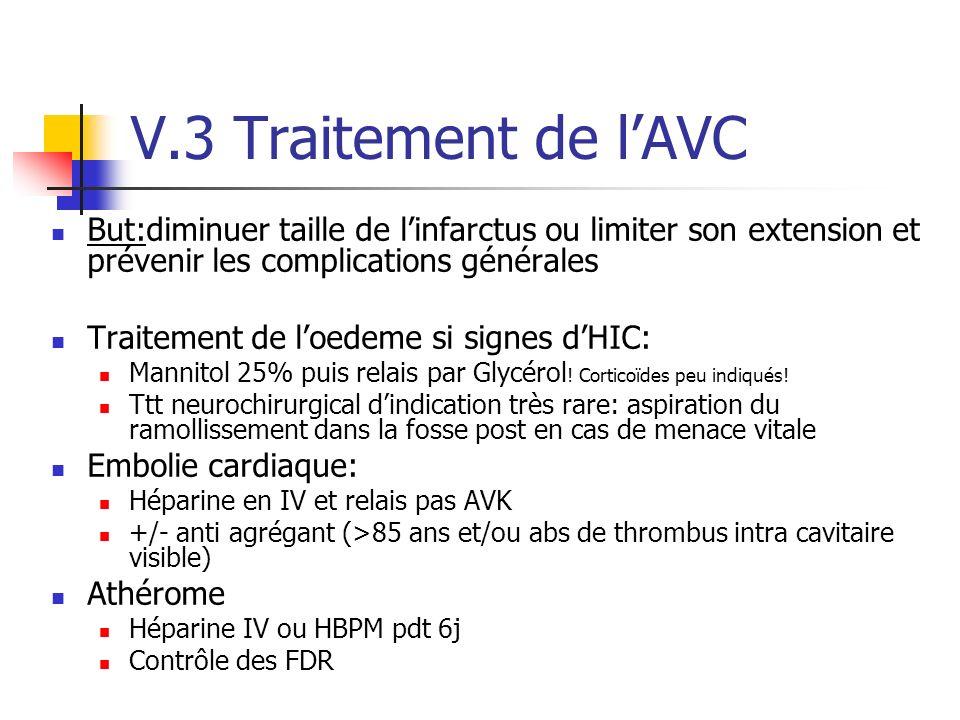 V.3 Traitement de lAVC But:diminuer taille de linfarctus ou limiter son extension et prévenir les complications générales Traitement de loedeme si signes dHIC: Mannitol 25% puis relais par Glycérol .
