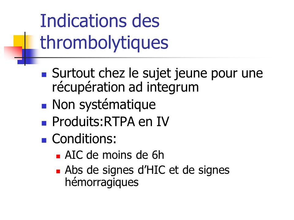 Indications des thrombolytiques Surtout chez le sujet jeune pour une récupération ad integrum Non systématique Produits:RTPA en IV Conditions: AIC de