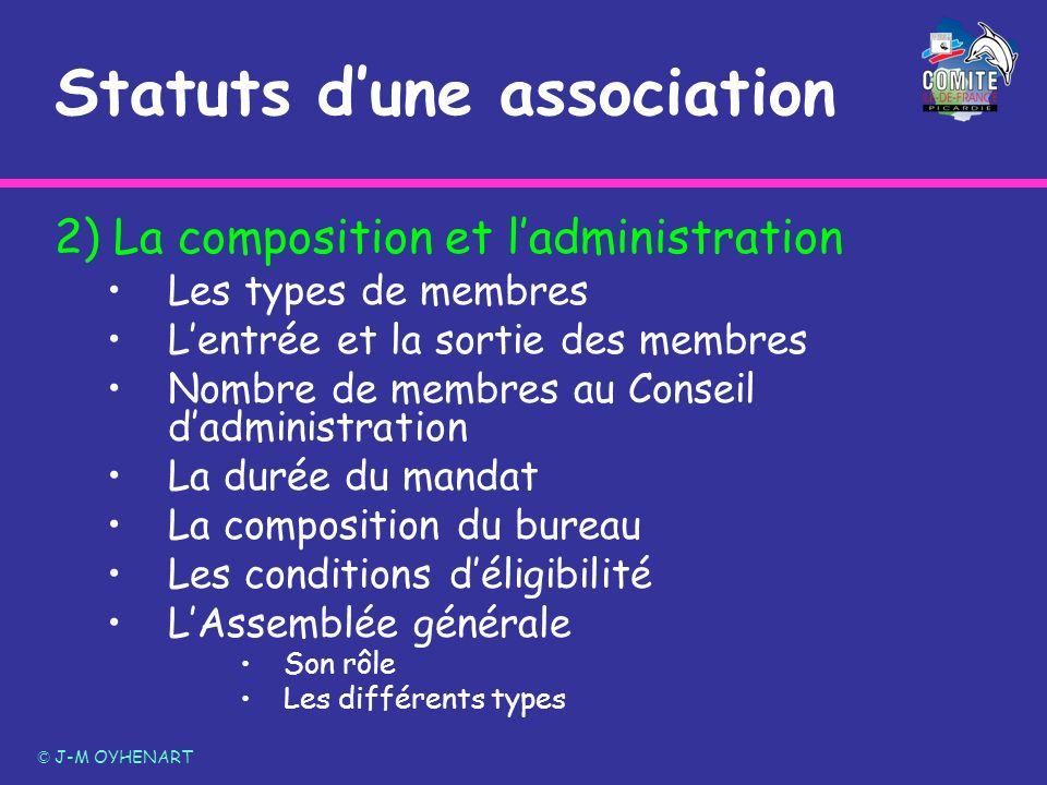 2) La composition et ladministration Les types de membres Lentrée et la sortie des membres Nombre de membres au Conseil dadministration La durée du ma