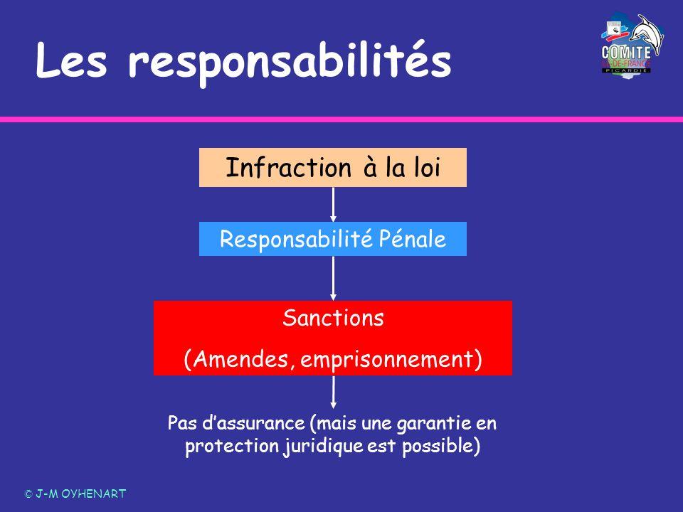 Les responsabilités © J-M OYHENART Pas dassurance (mais une garantie en protection juridique est possible) Infraction à la loi Responsabilité Pénale S