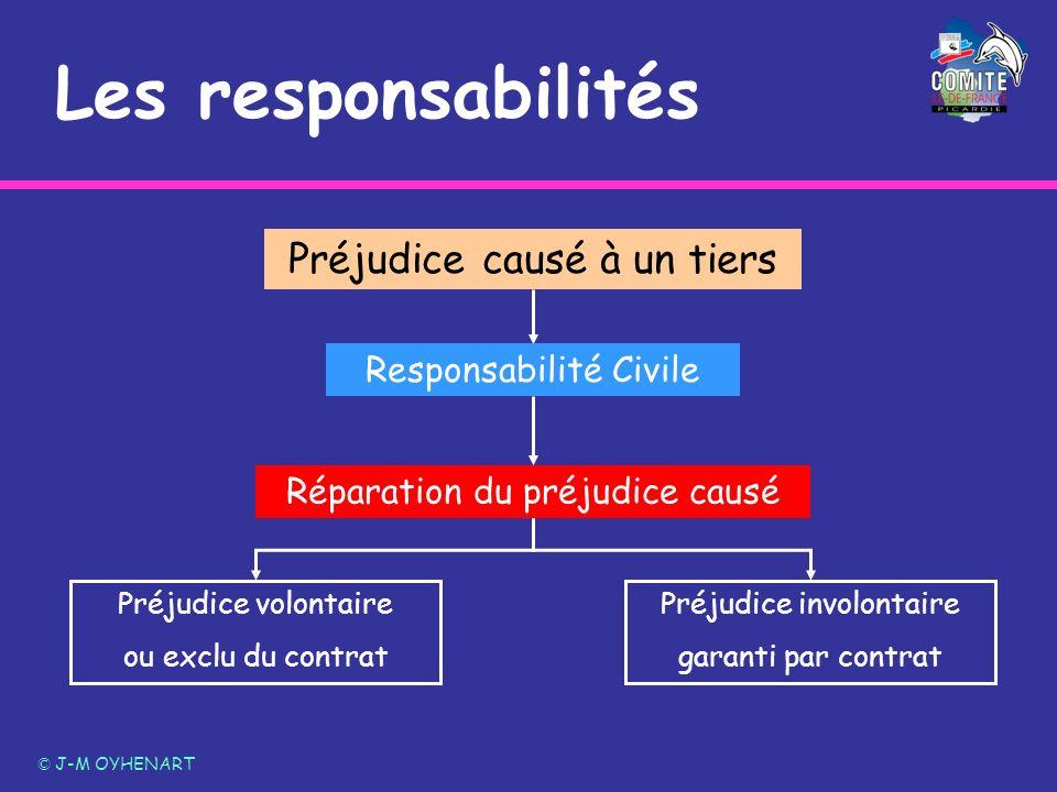 Les responsabilités © J-M OYHENART Préjudice causé à un tiers Responsabilité Civile Préjudice volontaire ou exclu du contrat Préjudice involontaire ga