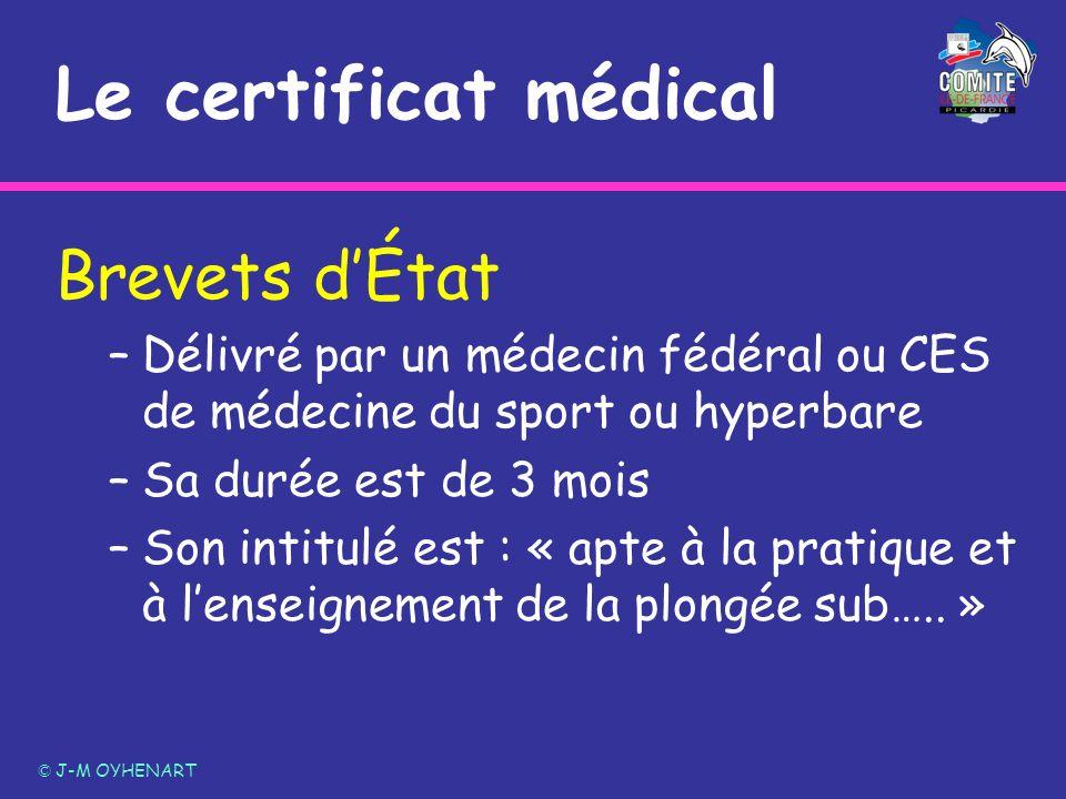 Le certificat médical Brevets dÉtat –Délivré par un médecin fédéral ou CES de médecine du sport ou hyperbare –Sa durée est de 3 mois –Son intitulé est
