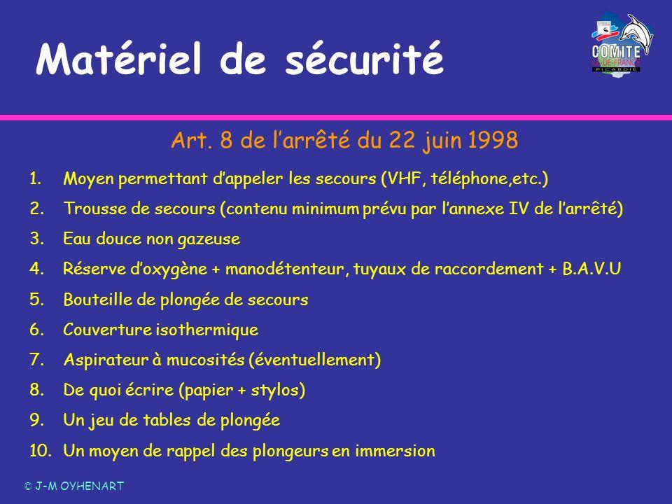 Matériel de sécurité © J-M OYHENART 1.Moyen permettant dappeler les secours (VHF, téléphone,etc.) 2.Trousse de secours (contenu minimum prévu par lann