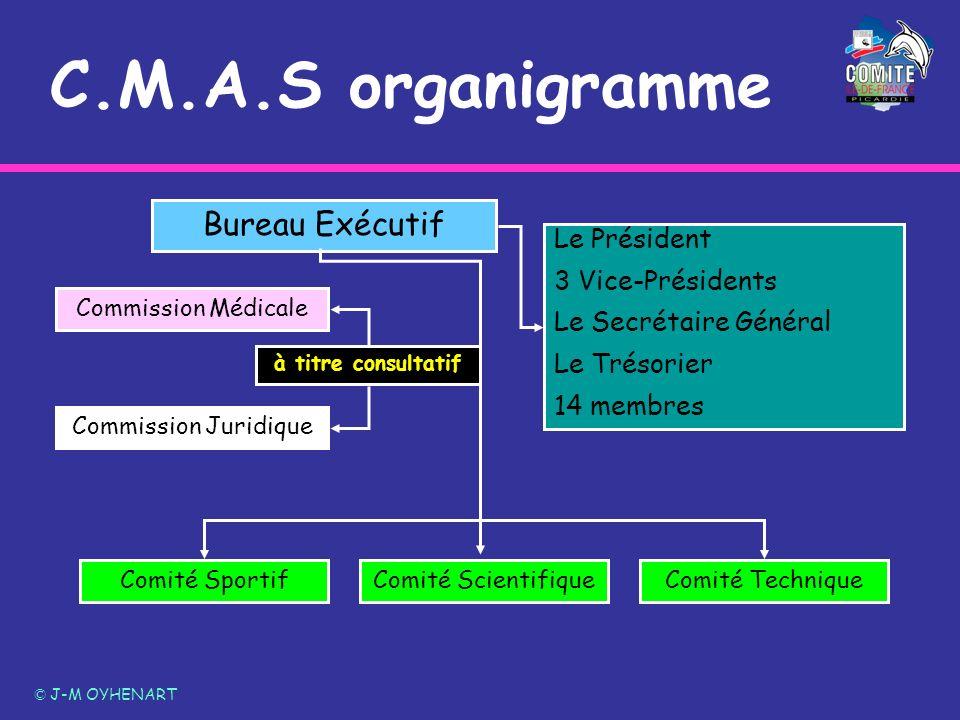 C.M.A.S organigramme © J-M OYHENART Bureau Exécutif Le Président 3 Vice-Présidents Le Secrétaire Général Le Trésorier 14 membres Comité SportifComité