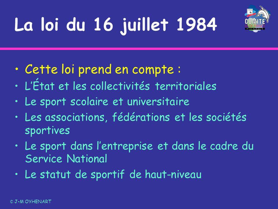La loi du 16 juillet 1984 Cette loi prend en compte : LÉtat et les collectivités territoriales Le sport scolaire et universitaire Les associations, fé