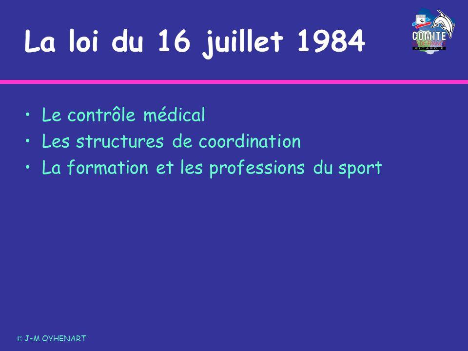 La loi du 16 juillet 1984 Le contrôle médical Les structures de coordination La formation et les professions du sport © J-M OYHENART