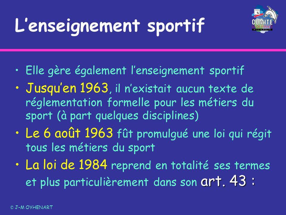 Lenseignement sportif Elle gère également lenseignement sportif Jusquen 1963, il nexistait aucun texte de réglementation formelle pour les métiers du