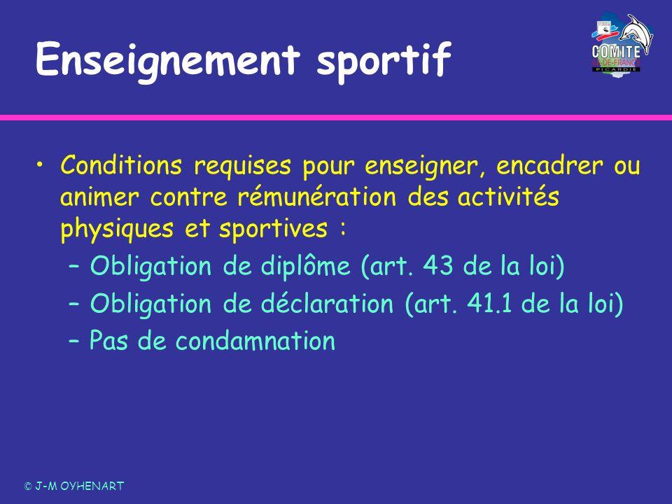 Enseignement sportif Conditions requises pour enseigner, encadrer ou animer contre rémunération des activités physiques et sportives : –Obligation de