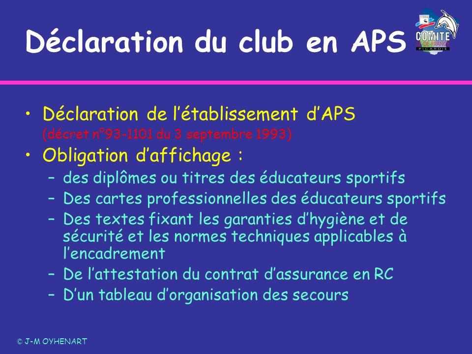 Déclaration du club en APS Déclaration de létablissement dAPS (décret n°93-1101 du 3 septembre 1993) Obligation daffichage : –des diplômes ou titres d
