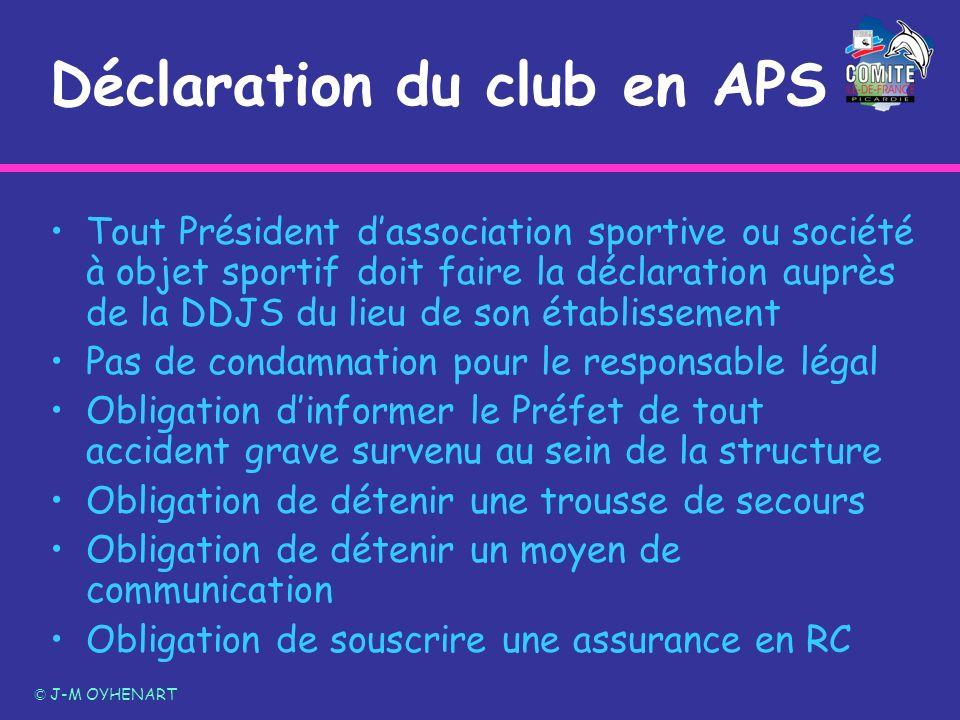 Déclaration du club en APS Tout Président dassociation sportive ou société à objet sportif doit faire la déclaration auprès de la DDJS du lieu de son